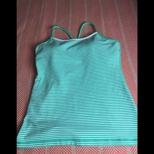 Lululemon athletica power y green stripped tank